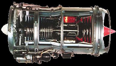 Corte de Motor Turbofán JT8D Modelo AE-06